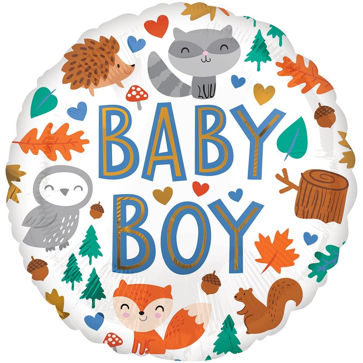 """Кулька 18"""" круг фольгована на виписку для хлопчика """"Baby boy, лісові звірята"""" малюнок УП шт."""