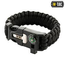 M-Tac браслет паракорд с искровысекателем, компасом и свистком Black L