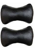 Подушка на подголовник  ткань черная стреч  - Структурная-  эко-кожа  (2шт)