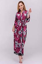 Длинный бархатный халат с кружевом цветочный принт