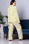 Классическая женская пижама П1021 Лимоны 2XL (50-52), фото 3