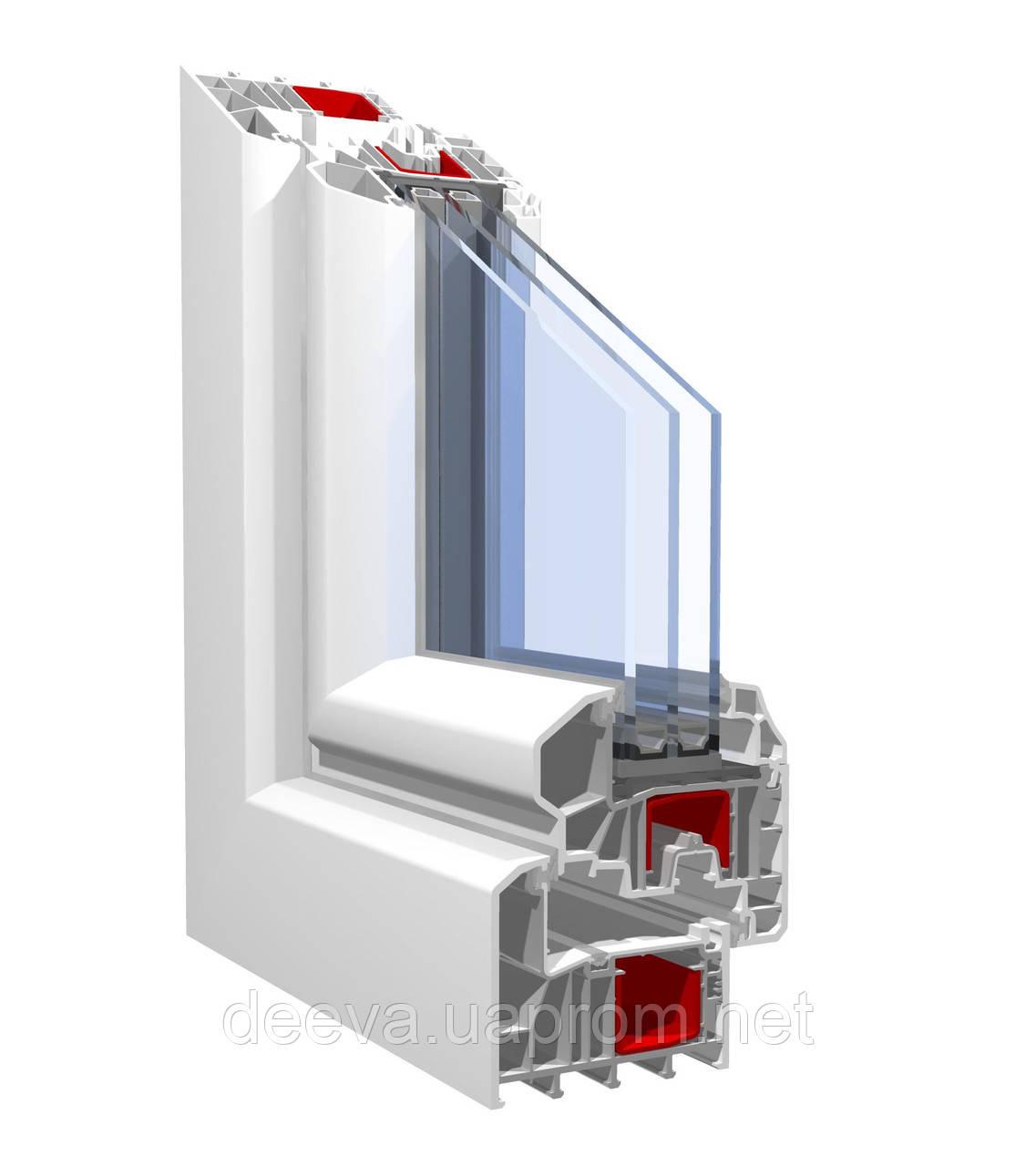 Окно из профиля kbe-88 (6 камерный) 1,3х1,4 стандартное, сте.