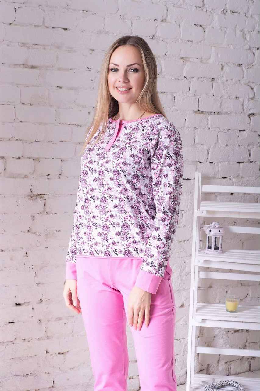 Комплект брючный для дома П1204 Принт цв.+ розовый