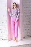 Комплект брючный для дома П1204 Принт цв.+ розовый, фото 2