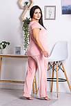 Брючная пижама плюш-велюр П1302 Розовый, фото 3