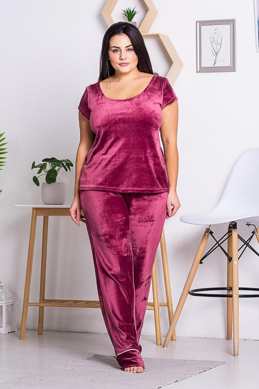 Женская пижама из плюш-велюра П1311 Бордо