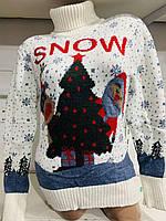 Свитер под горло с оленем/ Санта Клаусом женский (ПОШТУЧНО) В РАСЦВЕТКАХ, фото 1