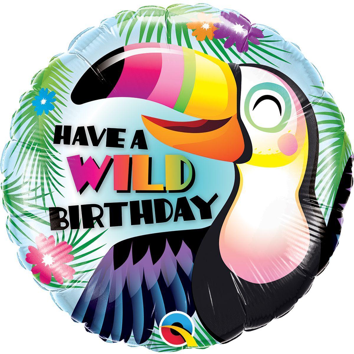 """Кулька 18"""" круг фольгована """"Have a wild Birthday, тропічний тукан"""" малюнок УП шт."""
