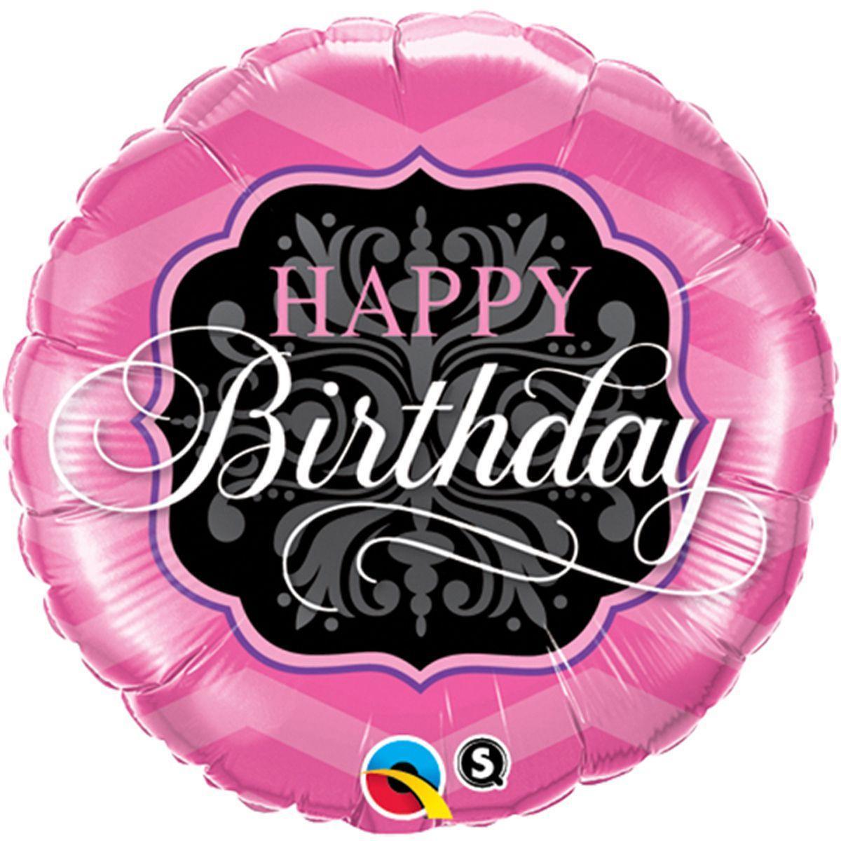 "Кулька 18"" круг фольгована ""Happy Birthday, чорно рожева"" малюнок УП шт."