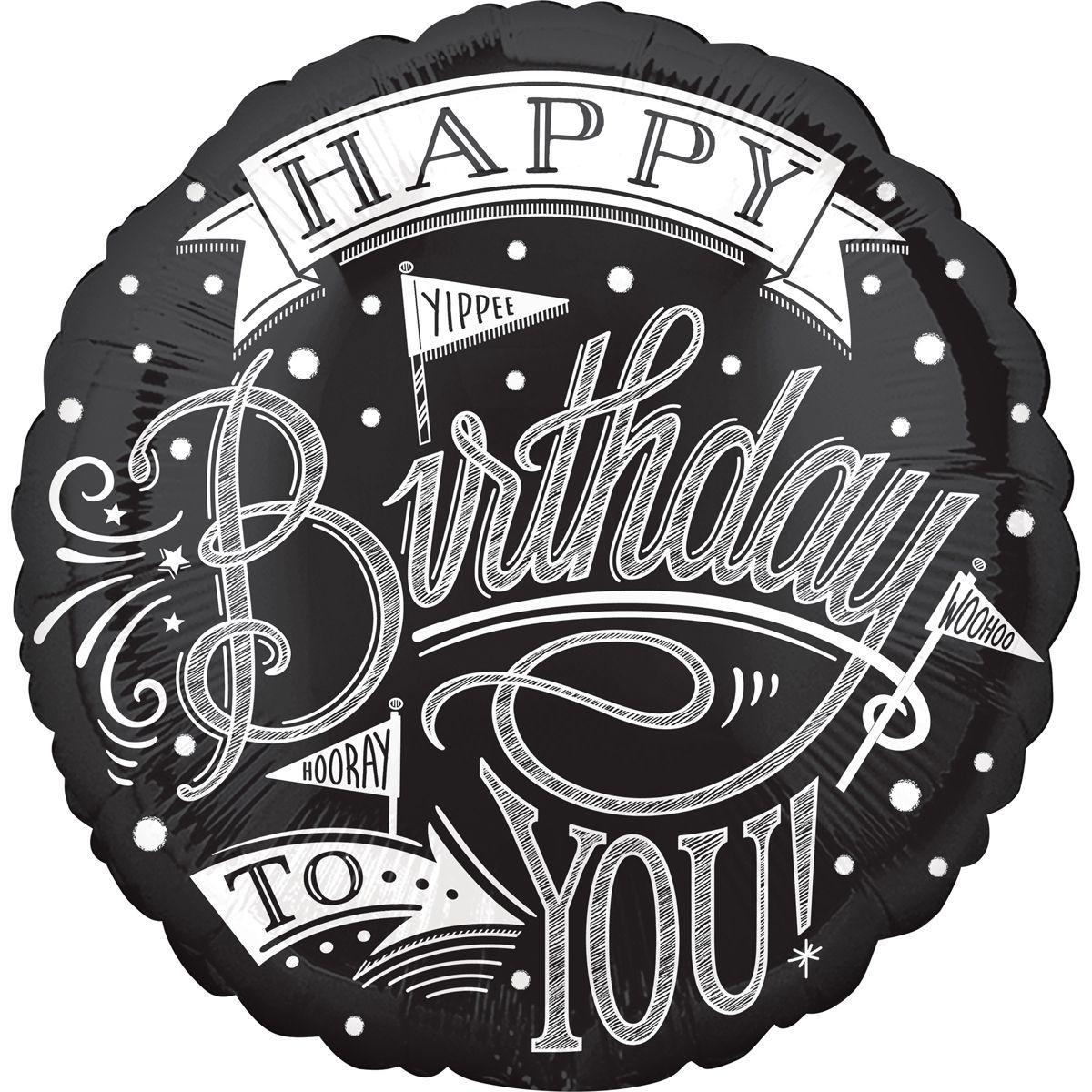 "Кулька 18"" круг фольгована ""Happy birthday, чорний орнамент"" малюнок УП шт."