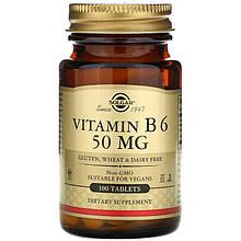 """Вітамін В6, SOLGAR """"Vitamin B-6"""" 50 мг (100 таблеток)"""