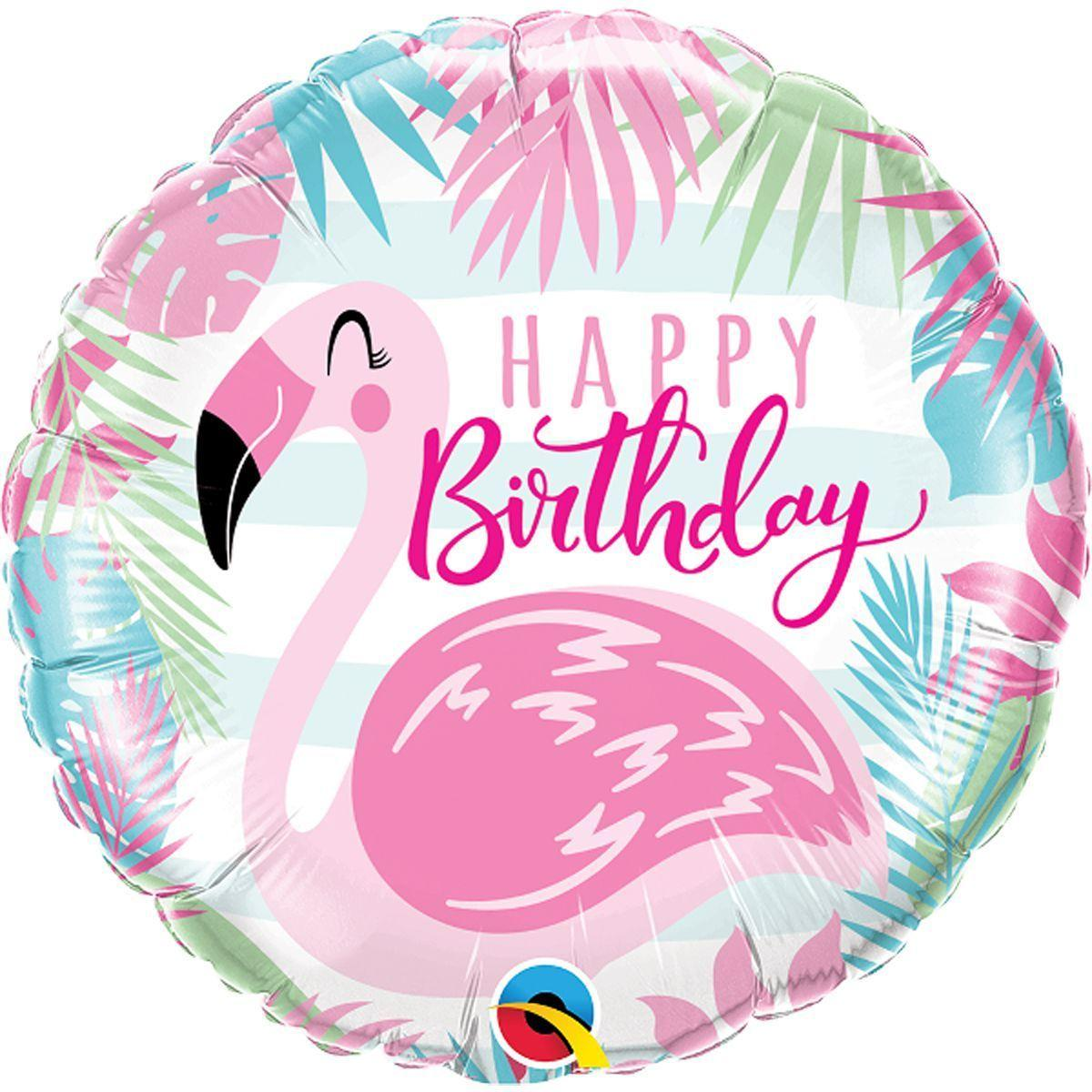 "Кулька 18"" круг фольгована ""Happy Birthday, фламінго"" малюнок УП шт."