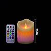 Светодиодная электронная свеча RGB 75х100мм, с пультом 3хААА, парафин