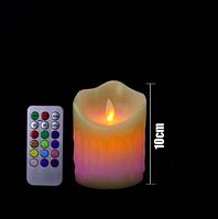 Светодиодная электронная свеча RGB 75х100мм, с пультом 3хААА, парафин, фото 1