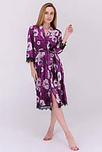 Бархатный халат с кружевом и принтом цвет фиолетовый