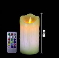 Светодиодная свеча RGB 75х150мм, с пультом 3хААА, парафин, фото 1
