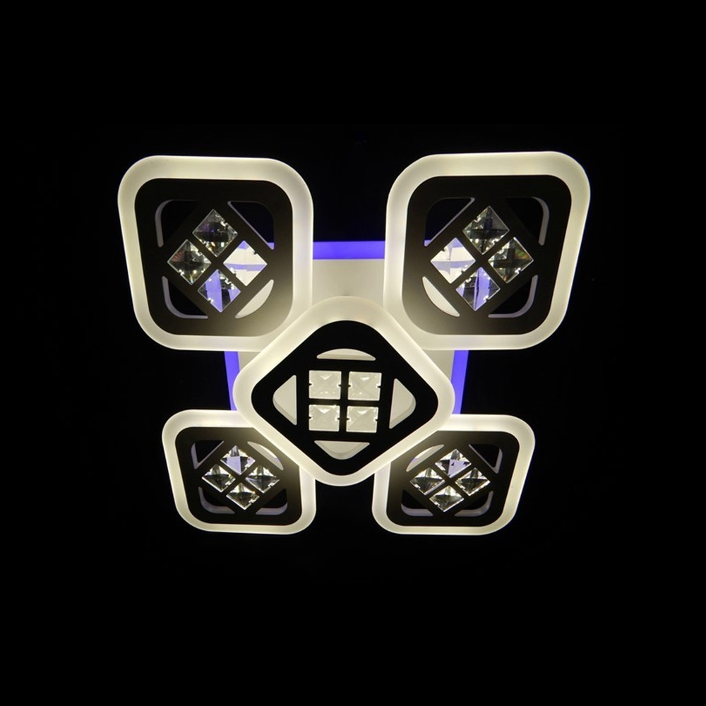 Светодиодная LED люстра СветМира 90 Вт с подсветкой и регулировкой яркости LS-7110/4+1S