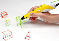 3D ручка c LCD дисплеем и эко пластиком для 3Д рисования 3DPEN-2 Жёлтая