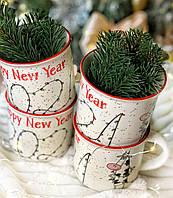 Новогодняя Чашка с надписью 2021 и коровкой