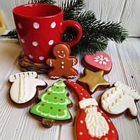 """Набор новогодние медовые имбирные пряники ручной работы """"Новый год и чашка в подарок!"""", фото 1"""