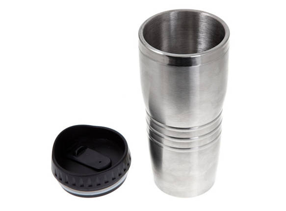 Термокружка металлическая 400 мл, серебро, без ручки, фото 2
