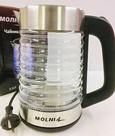 Чайник МОЛНИЯ стеклянный с LED подсветкой 2L 1500W ART-2128