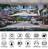 E-ACE A38 2K Автомобильный видеорегистратор - зеркало 1440P 12 дюймов С возможностью подключения задней камеры, фото 3