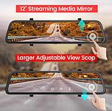 E-ACE A38 2K Автомобильный видеорегистратор - зеркало 1440P 12 дюймов С возможностью подключения задней камеры, фото 5