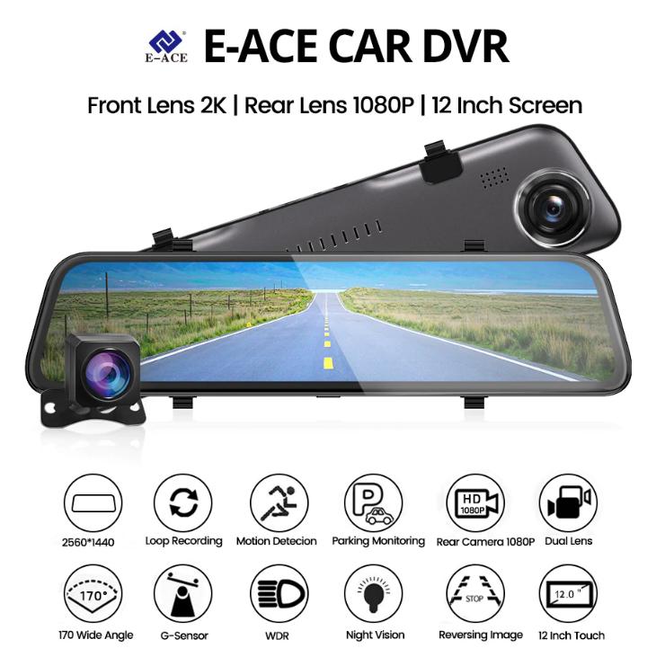 E-ACE A38 2K Автомобильный видеорегистратор - зеркало 1440P 12 дюймов С возможностью подключения задней камеры