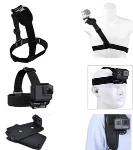 Набор креплений для экшн камеры (на голову, на грудь,крепление-прищепка)