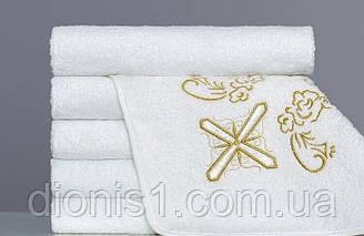 Полотенце для крещения  квадратное золото 100х100 махра Турция