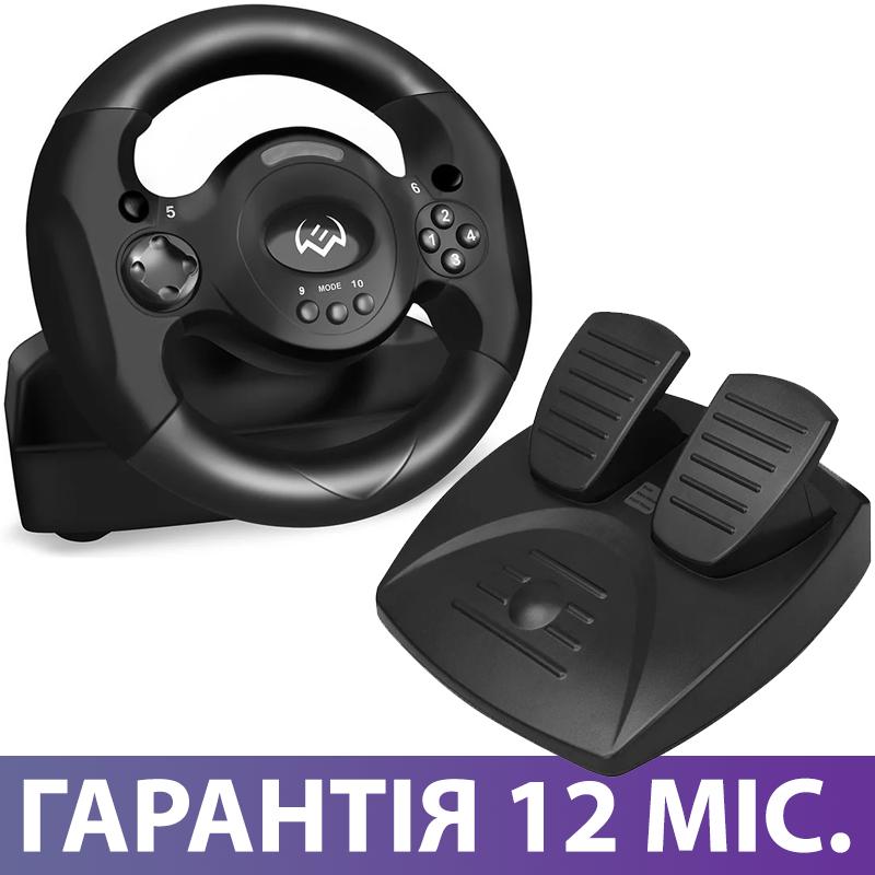 Игровой Руль и Педали для ПК Sven GC-W300, приставка-руль с педалями для компьютера и ноутбука