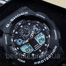 Годинники наручні чорні Casio G-Shock GA-100 Black-White / касіо джишок чорні