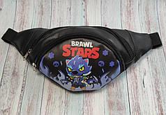 Brawl stars детская сумка бананка на пояс бравл старс Леон оборотень черный фон