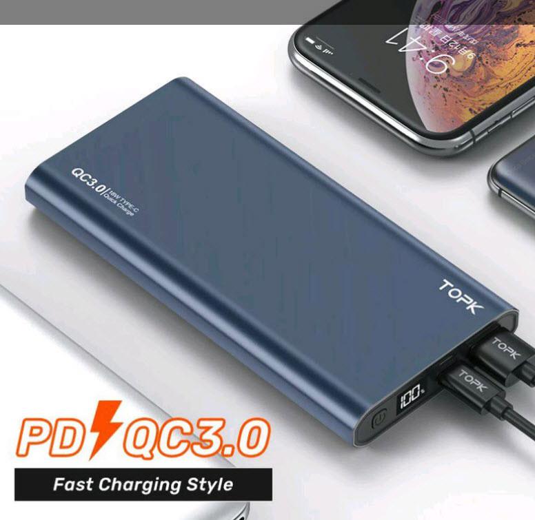 Power Bank Topk 10000 mAh 1xUSB 2 входа - microUSB, USB Type-C   18W Быстрая зарядка QC 3.0 (Синий)