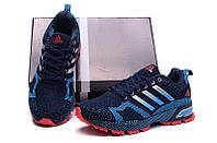 Мужские кроссовки Adidas Marathon Flyknit blue-red, фото 1