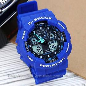 Годинники наручні сині Casio G-Shock GA-100 Blue-Black / касіо джишок сині