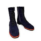 Ботинки на шнурках и молнией, каблук 2см, цвет темно-синий, фото 3