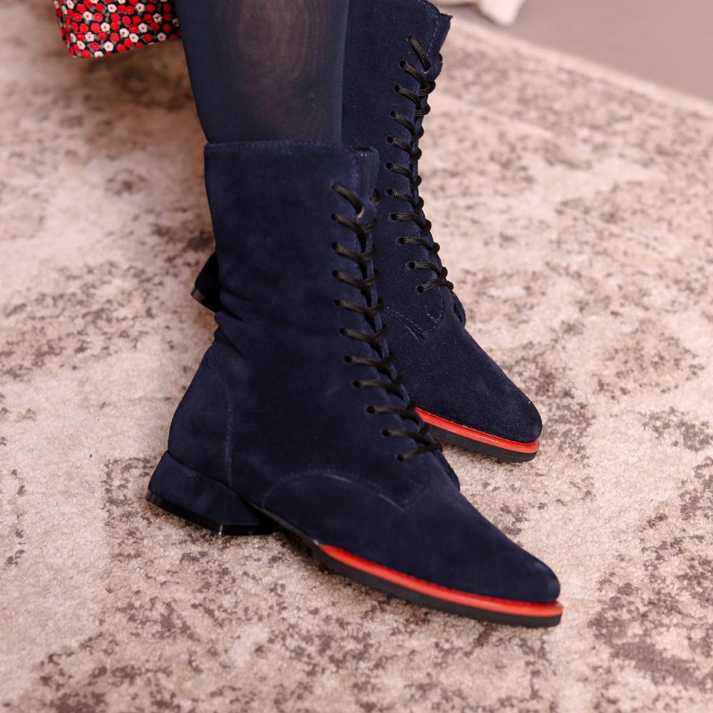 Ботинки на шнурках и молнией, каблук 2см, цвет темно-синий