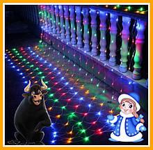Оптом 100шт Гирлянда сетка 120 led 1.5х1.5м мульти-цвет Новогодняя гирлянда Xmas