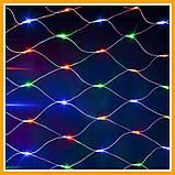 Оптом 100шт Гирлянда сетка 120 led 1.5х1.5м мульти-цвет Новогодняя гирлянда Xmas, фото 3