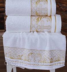 Полотенце для крещения золото 140х70 махра Турция