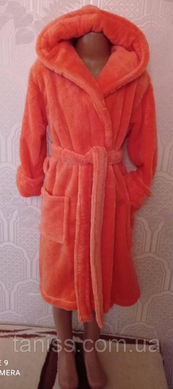 Теплый махровый детский, подростковый халат, для девочек, на запах,  с капюшоном р. 6 - 14лет , персиковый