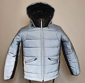 Светоотражающая куртка - пуховик зимняя подростковая на мальчика короткая из рефлективной плащевки, 140-170