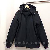 Тёплый прогулочный спортивный костюм Soccer плащёвка на флисе большие размеры тёмно-синий  брюки прямые, фото 3