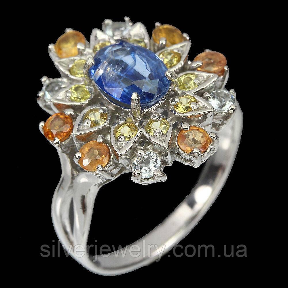 Серебряное кольцо с КИАНИТОМ и САПФИРОМ (натуральный!!), серебро 925 пр. Размер 18,5