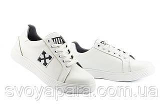 Мужские кроссовки кожаные весна/осень белые CrosSav 410 Off
