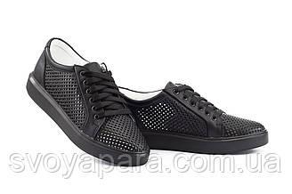 Женские кеды кожаные летние черные Yuves 591 Black Перфорация