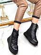 Ботинки женские зимние черные на шнурках и молнии эко кожа b-463, фото 8