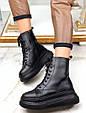 Ботинки женские зимние черные на шнурках и молнии эко кожа b-463, фото 9